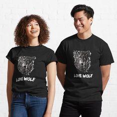 """Lone Wolf"" T-shirt by Joshua1870   Redbubble T Shirt Designs, Cute Couple Shirts, Biker, Patent Drawing, Hockey Season, Culture, Mask For Kids, My T Shirt, Tshirt Colors"