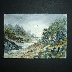 painting art original landscape aceo watercolour ref 74 £4.00