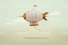 Steampunk Blimp Airship in muted blue sky with cloudsSteampunk Blimp. Free Vector Art, Image Now, Steampunk, Royalty, Sky, Illustration, Coffee, Royals, Heaven