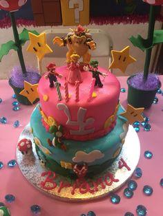 Princess peach and mario Bros cake