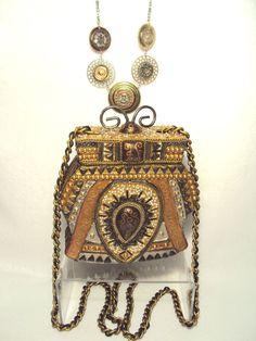 Early MARY FRANCES Box Style Handbag Purse Lid Shoulder Chain Handmade Beaded #MaryFrances #ShoulderBag
