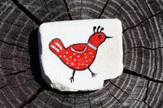 Red Silver Bird Beach Keramik / Stein / Folk Art / von EelmonkeyArt, $12.00