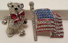 Swarovski Crystal Brooch Jewelry lot American Flag USA Teddy Bear Swan signed  #Swarovski #jewelry #ebay #crystal