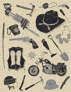 The Walking Dead mini Art Print of TWD Artifacts Walking Dead Wallpaper, Walking Dead T Shirts, Walking Dead Art, The Walking Dead Tattoos, Daryl Dixon, Andrew Lincoln, The Walking Death, The Walk Dead, Merle Dixon