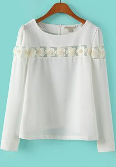 White Long Sleeve Applique Loose Blouse