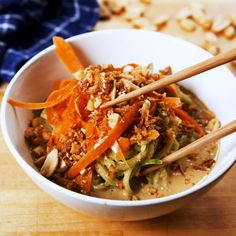 Thai Peanut Cucumber Noodles = The perfect no-cook lunch. Full recipe in bio. Side Dish Recipes, Veggie Recipes, Asian Recipes, Low Carb Recipes, Vegetarian Recipes, Cooking Recipes, Healthy Recipes, Good Food, Yummy Food