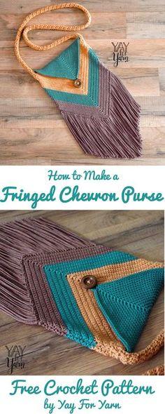 Crochet Handbags Fringed Chevron Purse – FREE Crochet Pattern – Yay for Yarn Bag Crochet, Crochet Shell Stitch, Crochet Handbags, Crochet Purses, Crochet Crafts, Crochet Ideas, Crochet Hand Purse, Crochet Projects, Knit Bag