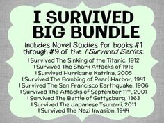 I Survived BIG BUNDLE (Lauren Tarshis) 9 Novel Studies / Reading Comprehension * Follows the Common Core Standards *  I Survived BIG BUNDLE based upon the wonderful I Survived Series by Lauren Tarshis. In total, there are 256 pages. The Novel Studies are all PDFs in booklet-style format.