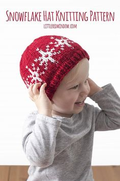 This adorable snowflake hat is a fun and easy fair isle knitting pattern and you can wear it all winter long! This adorable snowflake hat is a fun and easy fair isle knitting pattern and you can wear it all winter long! Baby Hat Knitting Pattern, Fair Isle Knitting Patterns, Baby Hat Patterns, Christmas Knitting Patterns, Fair Isle Pattern, Knitting Stitches, Free Knitting, Crochet Patterns, Loom Knitting