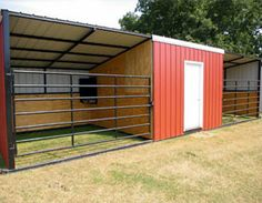run-in shed- backed up to your fence with a door on the outside into the feed room with feed doors on each stall for easy feed access