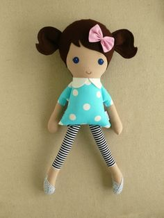 Reserved for Amy  Fabric Doll Rag Doll Brown Haired Girl in