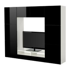Meuble tv mod le paris noir 2 x niches 2 x armoires 2 for Meuble tele laque blanc ikea