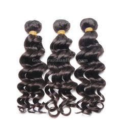 Brazilian #loosewave hair is machine made sew in weave with a loose wavy texture. This #brazilianhair is wet and wavy hair which curls hold after washing, it comes in natural color and thick bundle, easy to maintain. #goodbrazilianhair