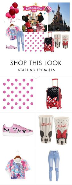 """Going To DisneyLand"" by strawberrymilkshake93 ❤ liked on Polyvore featuring York Wallcoverings, Disney, MOA Master of Arts, Avenue and disney"