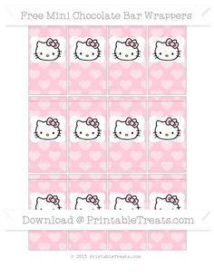 Free Pink Heart Pattern Hello Kitty Mini Chocolate Bar Wrappers