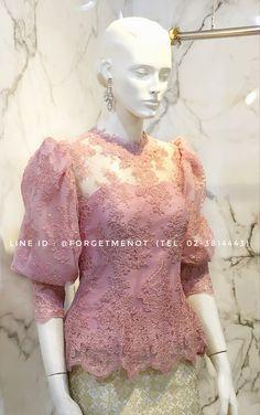 Kebaya Lace, Model Kebaya, Thai Dress, Silk Dress, Shirt Blouses, What To Wear, Fashion Dresses, Gowns, Kpop