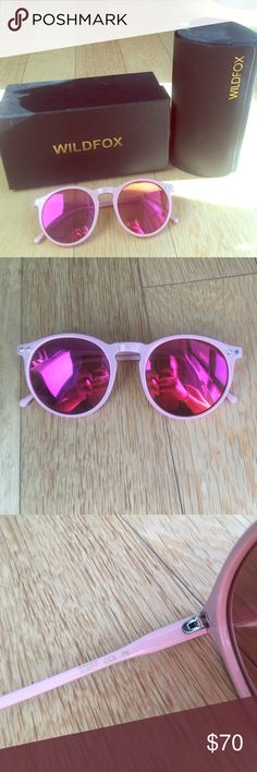 Wildfox pink Steff sunglasses Pretty baby pink round sunnies by Wildfox. Great condition. Comes with original cleaning cloth, box, and heart shaped case Wildfox Accessories Sunglasses