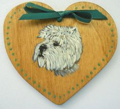 Westie refrigerator magnet hand painted on wood heart shaped 3¼ x 2¾