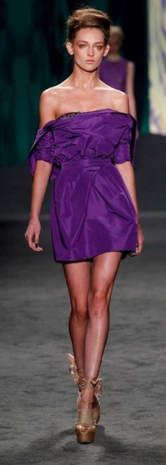 Vera Wang RTW Spring 2013 | amethyst silk faille draped portrait collar strapless dress with tulip skirt and jeweled neckline | high fashion