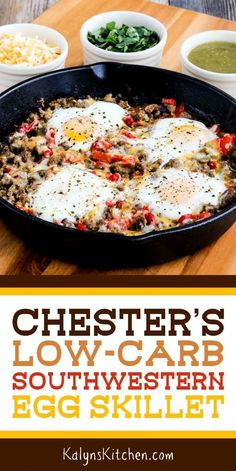 Chester's Low-Carb Southwestern Egg Skillet Is A Tasty Skillet Breakfast With Slightly-Spicy Flavors That Was Sent To Me By A Reader And What A Winner This Is Enjoy Found On Egg Skillet, Breakfast Skillet, Breakfast Recipes, Healthy Low Carb Breakfast, Diet Breakfast, Low Card Breakfast Ideas, Skillet Kitchen, Egg Recipes For Dinner, Ketogenic Breakfast