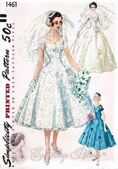 Vintage 1950s Simplicity 1461 Flattering Princess Style Bridal Gown and Bridesmaids Dress, Veil and Head Piece Sewing Pattern, UNCUT Bust 29...