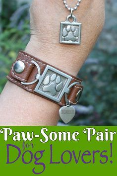 Engrave both with your fur-baby's name! Now get both at 25% off at https://zeldassong.com/collections/jewelry-for-dog-lovers-collection/products/paw-print-leather-cuff-bracelet?variant=18684949831&utm_source=pinterest&utm_medium=promotepost&utm_term=pawprint&utm_campaign=pawsome. Only from Zelda's Song, the luxurious Paw Print Cuff Bracelet with heart charm for engraving, matched with the Paw Print Necklace and engraving on the back. Great as a pet memorial, or as a gift!