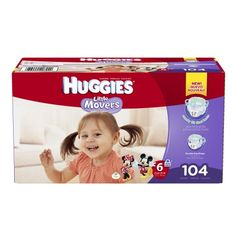 Huggies Little Movers Diapers, Economy Plus Pack Size 6 - 104 ea: Shaped to Support Fit & Flexibility &… #Pharmacy #OnlinePharmacy #Health