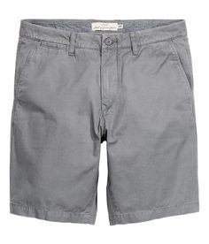 Check this out! Chino shorts in washed cotton twill. Zip fly, side pockets, coin pocket, and welt back pockets with button. Regular fit. - Visit hm.com to see more.