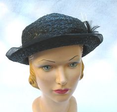 1930's Vintage Black Straw Hat with Feathers by MyVintageHatShop, $65.00