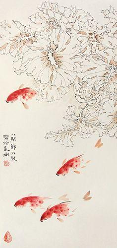 #GoldFishGongbi #ChineseFinelineGoldFish #OrientalBrushPainting