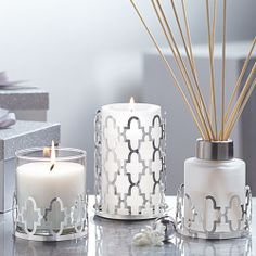 Garden Gate Multi-Use Holder, Garden Gate Candle Sleeve - Popular pattern is rendered in silver-tone metal adds shimmer to any décor. #PartyLite