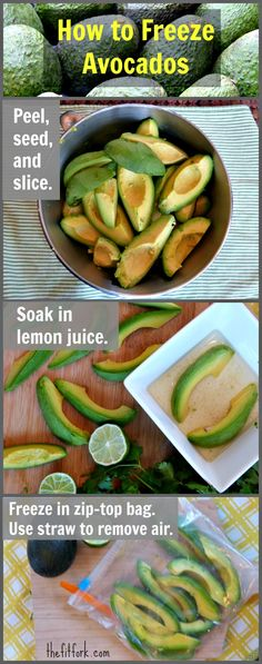 Find out how to freeze avocado slices -- {use freezer storage bags}