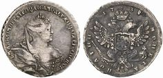 Poltina. Russian Coins. Anna 1730-1740. 1738. 12,11g. Bit 214. R! EF. Price realized 2011: 1.500 USD.