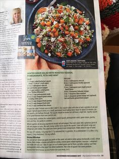 Winter grain salad with roasted squash, pomegranate, feta and mint. From Yum & Yummer (book from Preta Podleski) Roasted Squash Soup, Butternut Squash, Gluten Free Recipes, Vegetarian Recipes, Grain Salad, Slimming World Recipes, Vegetable Sides, Pomegranate, Feta