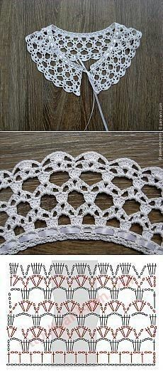 """Really pretty collar,and one of the easier ones to crochet! [ """"Really pretty collar,and one of the easier ones to crochet!"""", """"Ez is gallér"""", """"Crochet lace with chart"""" ] # # # # # # # # # Crochet Collar Pattern, Col Crochet, Crochet Lace Collar, Crochet Diagram, Crochet Chart, Thread Crochet, Crochet Motif, Lace Knitting, Crochet Designs"""