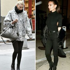 Dois looks estilosos com casacos peludos, black and gray da Elsa Hosk. E all black da Emily Ratajkowski.♥️✨ #elsahosk #emilyratajkowski #fashion #inspirations #fauxfur #coats