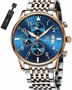 Azul Oro Crystal Steel Hombre Reloj Rose Gold Silver Man Watch Blue Face Arm  #FashionMen #DressFormal