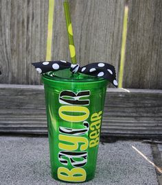 Texas Baylor Bears Tumbler  Green/Yellow/Zebra by KarahBCreations, $10.00
