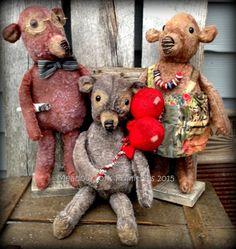 Primitive Folk ArtThe Three BearsDolls Bears by MeadowForkPrims