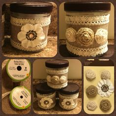 Decorative Jars: Very simple! Talenti ice cream jars, ribbon from dollar store and decorative flowers from craft store + glue gun = very pretty decorative jars. Reuse Containers, Ice Cream Containers, Pill Bottle Crafts, Upcycled Crafts, Handmade Crafts, Ice Cream Tubs, Recycled Jars, Yankee Candle Jars, Craft Night