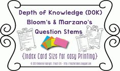iTeach 5th: Questioning Cards - Depth of Knowledge, Bloom's & Marzano's Questioning Stems