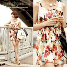 Fresh Garden Shirring Chiffon Dress