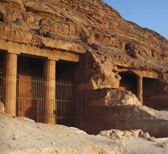 Interior hall of the rock-cut tomb of Amenemhet (tomb BH 2), Beni Hasan, Egypt, Dynasty XII, ca. 1950-1900 bce