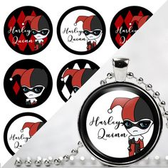 INSTANT DOWNLOAD- Harley Quinn 4x6 Digital Printable 1 Inch Circle Bottle Cap Images