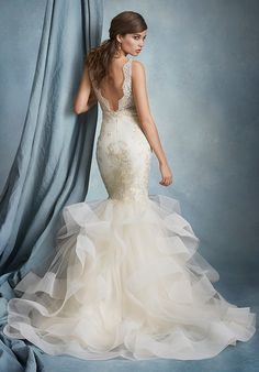 Fit and flare wedding dress with V-neckline and illusion lace bodice I Style: 2608 I by Tara Keely I http://knot.ly/6497BheoS