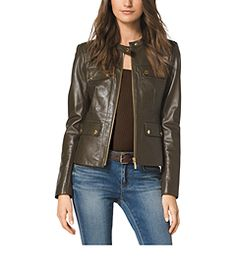 Cut from buttery-soft leather, this sleek jacket lends an air of effortless cool to any look. Utilitarian inspiration shines through the Four-pocket design, while a zip front lends a streamlined finish. Wear this for day and night with a silk tunic top and camouflage-printed pants or your favorite LBD.