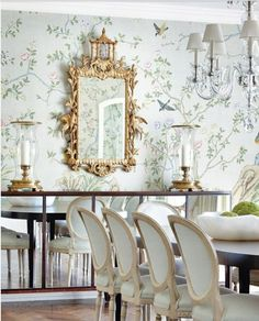 Gracie wallpaper and gorgeous gold lamp in dining room room design wallpaper Amazing Gracie Elegant Dining Room, Beautiful Dining Rooms, Dining Room Design, Buffet Original, Gracie Wallpaper, Wallpaper Ideas, Bird Wallpaper, Beautiful Wallpaper, Salon Wallpaper