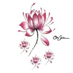Lotus temporary tattoo/ flower temporary tattoo/ fake by OnSkinHK