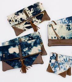 Crossbody bags in hand bleached denim