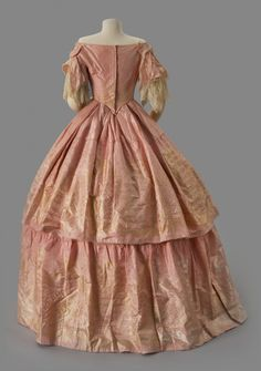 Pink Evening Dress - Albany Institute of History and Art Victorian Gown, Victorian Fashion, Pink Evening Dress, Evening Dresses, Pink Dress, 1850s Fashion, American Dress, Civil War Dress, Old Dresses